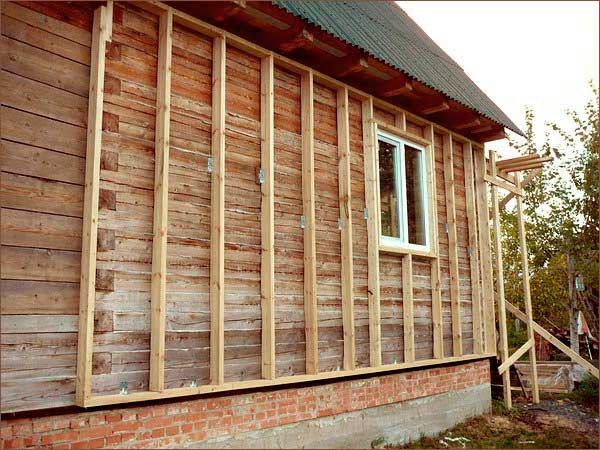 обрешетка деревянного дома перед утеплением