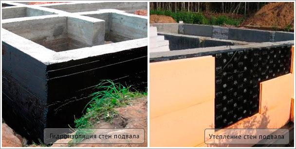 гидроизоляция и утепление стен подвала