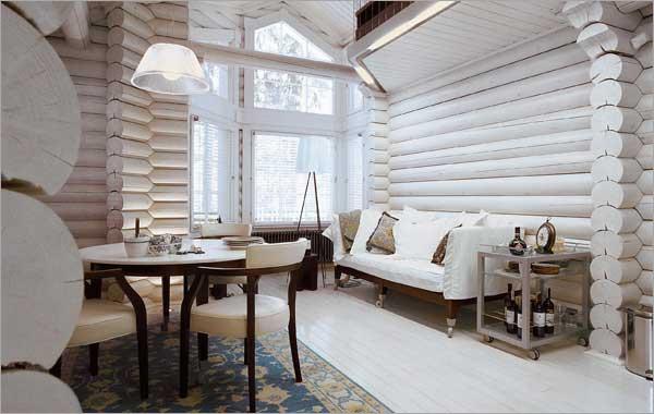 красим деревянный дом внутри