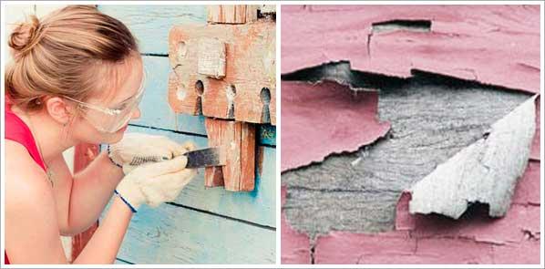 удаление старой краски с деревянной поверхости